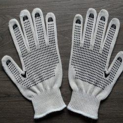 Перчатки рабочие (белые) с ПВХ точкой