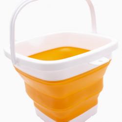 Ведро складное силиконовое дорожное квадратное 2life оранжевое (n-594)