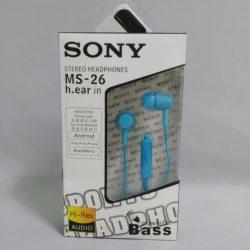 Вакуумные внутриканальные наушники sony ms-26 bass с микрофоном синие (imm1359hh)