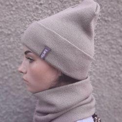 Вязаная шапка с хомутом демисезонная канта унисекс размер взрослый кофе с молоком (oc-915)