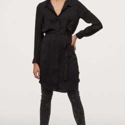 Платье рубашка h&m 85644015 36 черный (2000000902937)