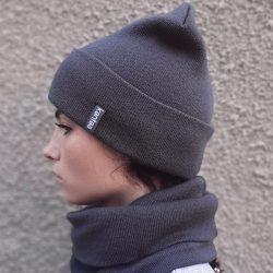 Вязаная шапка с хомутом демисезонная канта унисекс размер взрослый графит (oc-905)