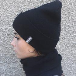 Вязаная шапка с хомутом демисезонная канта унисекс размер взрослый, черный (oc-901)