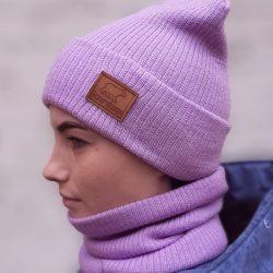 Вязаная шапка с хомутом демисезонная канта унисекс размер взрослый лаванда (oc-922)