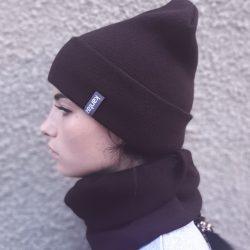 Вязаная шапка с хомутом демисезонная канта унисекс размер взрослый коричневый  (oc-906)
