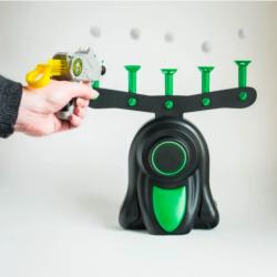 Воздушный тир детская игра пистолет с дротиками и летающие мишени 1шт (0275)