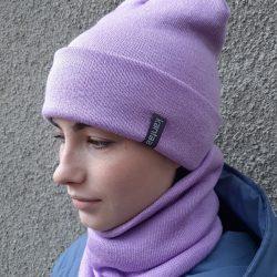 Вязаная шапка с хомутом демисезонная канта унисекс размер взрослый лаванда (oc-912)