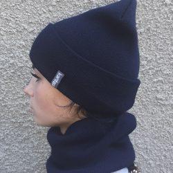 Вязаная шапка с хомутом демисезонная канта унисекс размер взрослый, синий (oc-902)