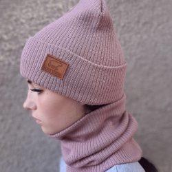 Вязаная шапка с хомутом демисезонная канта унисекс размер взрослый пудра (oc-921)