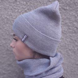 Вязаная шапка с хомутом демисезонная канта унисекс размер взрослый серый (oc-904)