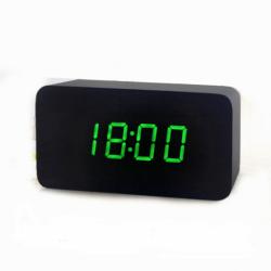 Настольные электронные цифровые часы vst-863 зеленая подсветка черные (258593)