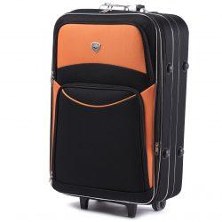 Чемодан wings soft на колесах черный с оранжевым (1020001101)