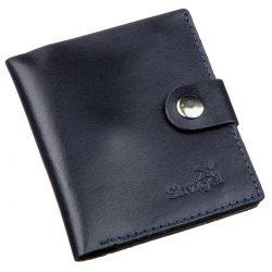 Портмоне вертикальное мужское кожаное с монетницей shvigel 16224 синее