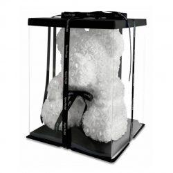 Мишка из искусственных 3d роз bearrose в подарочной упаковке 40 см белый (0156788)