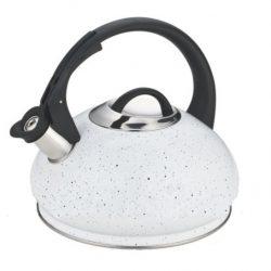 Чайник из нержавеющей стали со свистком edenberg 3.0 л белый (eb-8812w)