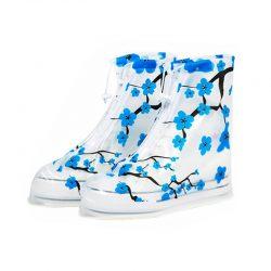 Резиновые бахилы на обувь от дождя lesko sb-102 синяя сакура m