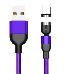 Магнитный кабель для зарядки и передачи данных greenport 1m 3.0a для microusb purple (м32а05)