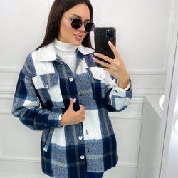 Тёплая женская рубашка клетка с мехом